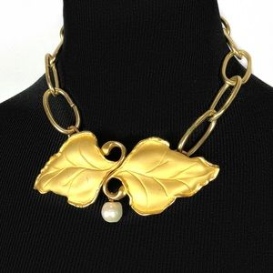 Vintage Brass Leaf and Fresh water pearl necklace